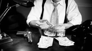 film noir tilt ganster counting money
