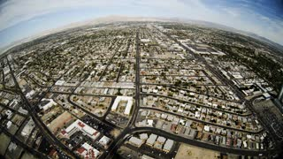 fisheye aerial view of las vegas 4k