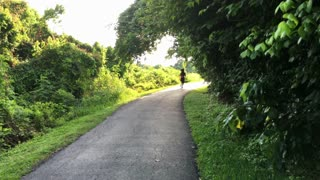 following a woman jogger on a path 4k