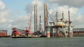 Galveston oil platform closeup