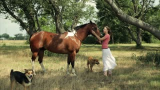 girl petting her horse
