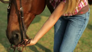girl putting bridle on horse