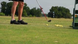 golfer swing closeup