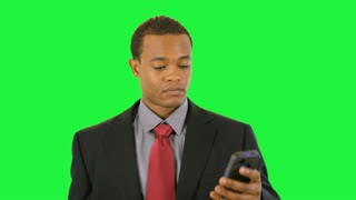 green screen businessman on cell phone