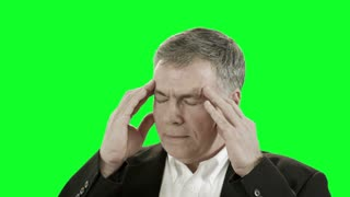 green screen businessman with headache