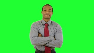 green screen confident businessman folding arms.