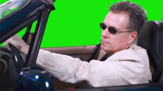 green screen driving talking on cell