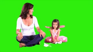 green screen mom and little girl
