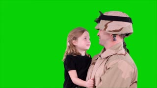 green screen soldier talking with daughter