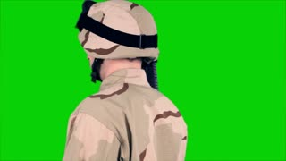 green screen soldier turns to camera