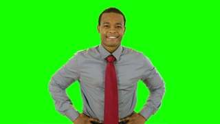 green screen successful businessman.