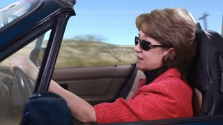 green screen woman driving composite