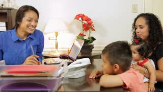 hispanic business woman talking to her client