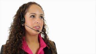 Hispanic helpdesk operator close up