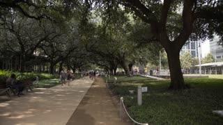 Houston, TX - October 01, Discovery green urban park Houston 4k