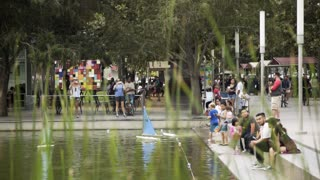Houston, TX - October 01, radio controled boats Discovery green urban park Houston 4k