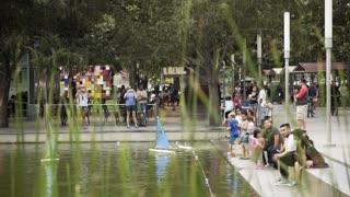 Houston, TX - October 01, radio controled boats Discovery green urban park Houston 4k