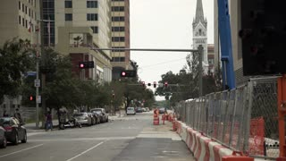 Houston, TX - October 01, street view of a construction zone downtown houston 4k