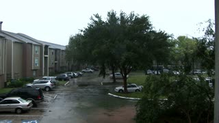 Hurricane apartment trees blowing and rain