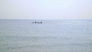 kayakers on the ocean.