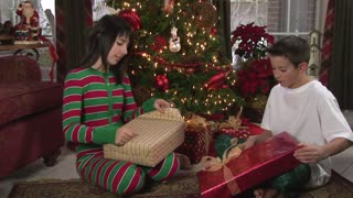 kids opening presents
