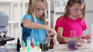 kindergarten scientists working in a lab