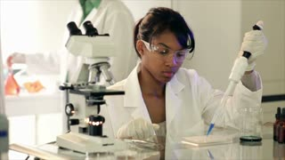 Lab tech using a pipette and other looking in microscope