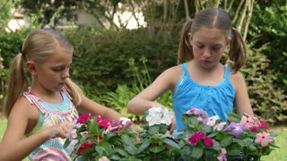 little girls planting flowers.