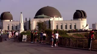 Los Angeles, California July 1, 2016 Outside view of the Griffith Observatory  4k