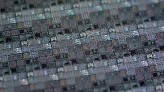 macro shot of a silicon wafer of microchips 4k