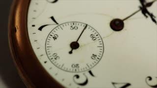 macro ticking antique pocketwatch