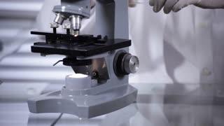 male lab tech adjusting a microscope