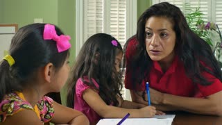 mom going over homework with her children 4k