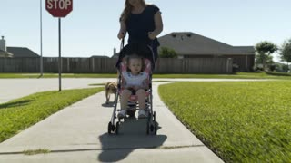 mom with her baby in a stoller walking the dog in a suburban street 4k