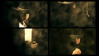 montage of a cowboy in different views