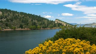 mountain scene of Horsetooth Reservoir Colorado 4k.