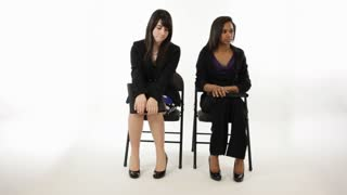 nervous young girls waiting for interview