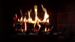 night shot of a fireplace