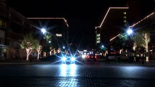 night traffic at town square
