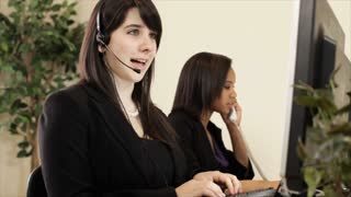 office call center with girls on phone