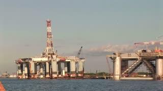 oil rigs in Galveston bay