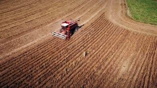 overhead aerial of soybean harvest in Kansas