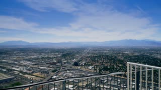 overlooking Las Vegas from the top of the stratosphere hotel 4k