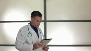 pacing doctor with tablet
