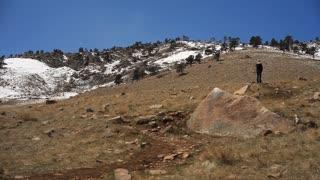 pan of a snowy mountain