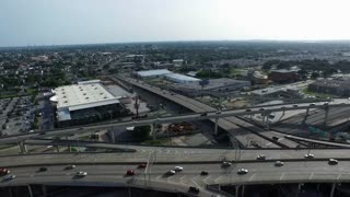 panning aerial view of the pontchartrain expressway in New Orleans Louisiana