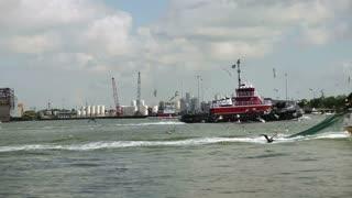 Passing trawler and tug
