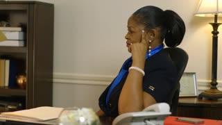 pensive woman business owner CEO ponders problem begins working