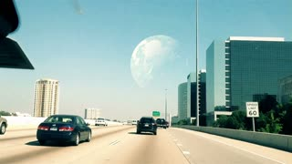 Planet in the distance over a highway