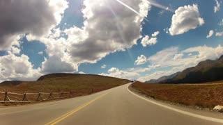 pov driving in the open mountain